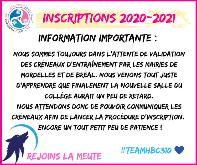 Inscriptions saison 2020 2021