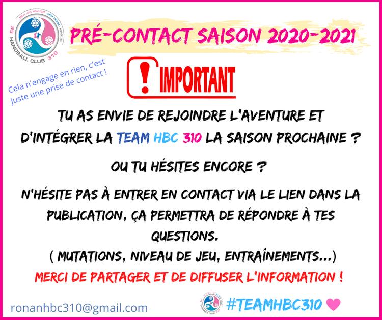 Formulaire pré contact recrutement saison 2020-2021