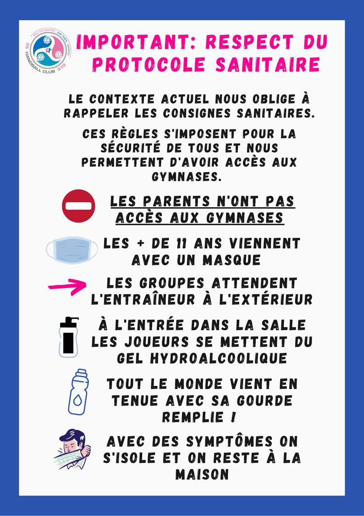 RAPPEL : protocole sanitaire à respecter