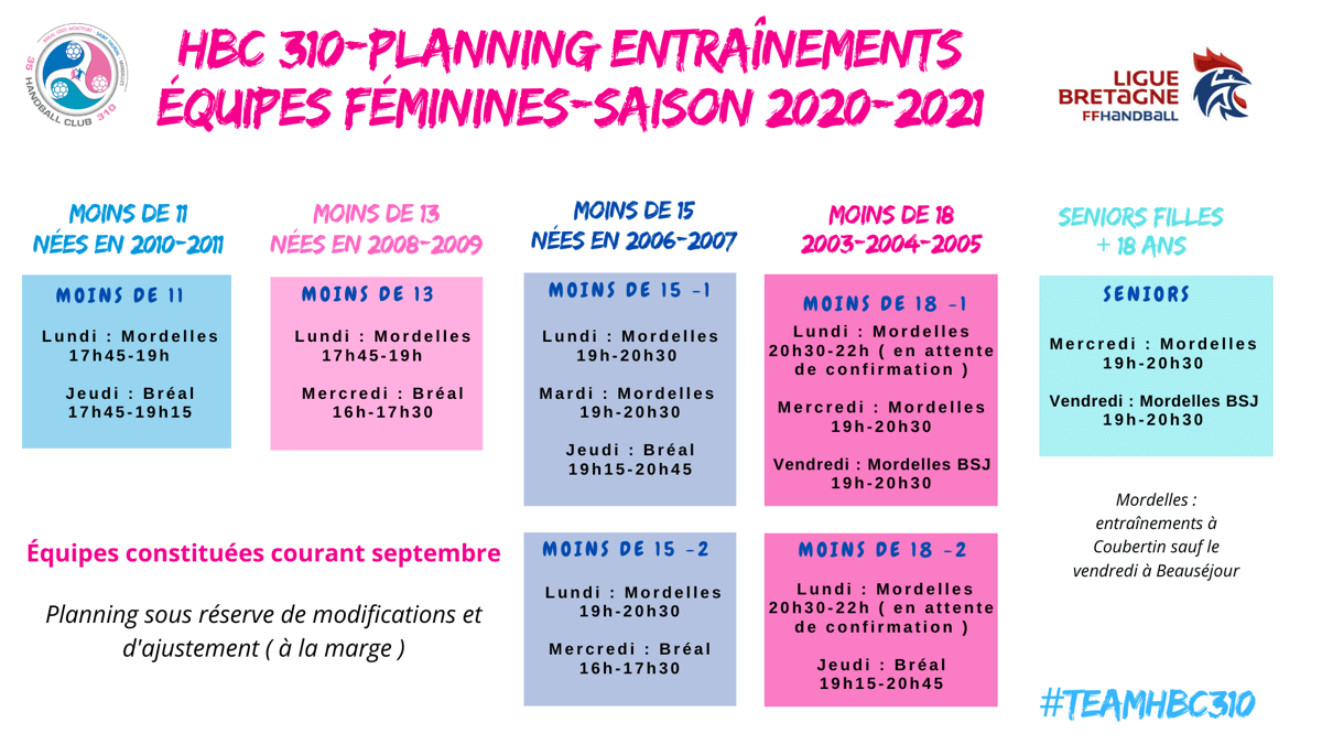 Planning section féminine