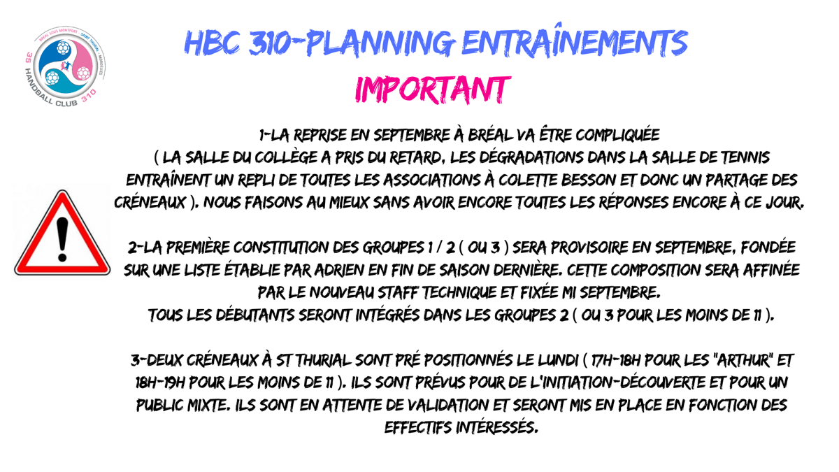 Info complémentaire sur les plannings